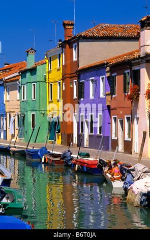 ITALY VENETIAN LAGOON COLORFUL HOUSES ON BURANO ISLAND - Stock Photo