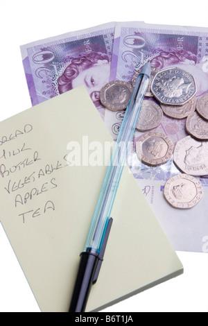 Shopping list pen and money