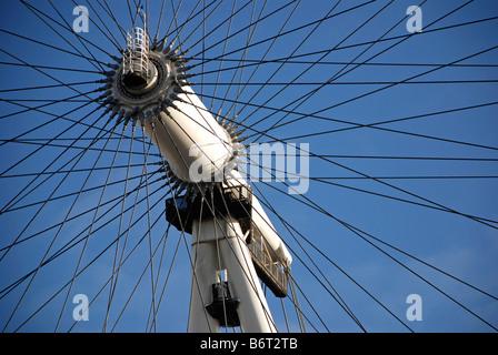 British Airways London Eye, millennium wheel, South Bank of the Thames, London, UK. Close up detail of pivot hub - Stock Photo