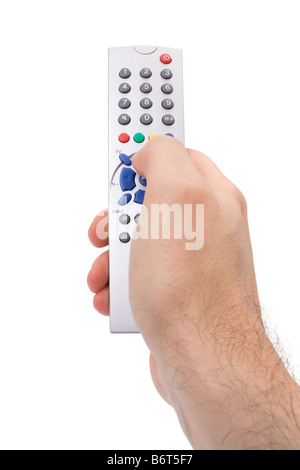 Hand holding a TV remote control isolated on white
