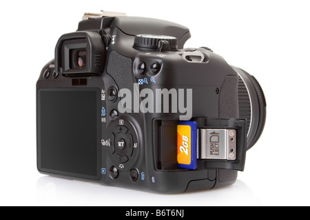 Digital slr with a SD (Secure Digital) memory card half inserted into slot - Stock Photo