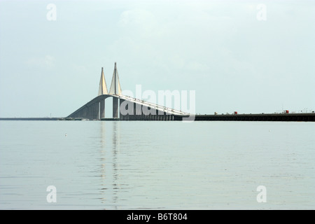 Sunshine Skyway bridge over Tampa Bay in Florida - Stock Photo