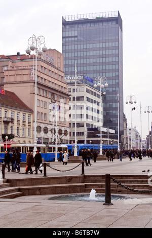 CROATIA, ZAGREB. Trg Bana Jelacica - Zagreb main town square - Stock Photo