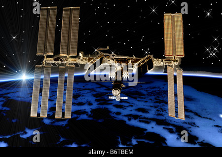 computer enhanced NASA image of International Space Station (ISS) flying above earth sunrise - Stock Photo