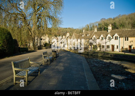 The main street in the village of Castle Combe, Wiltshire - Stock Photo