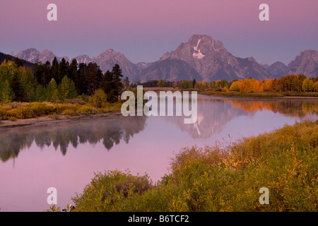 Mount Moran reflected in the ancestral Snake River at Oxbow Bend Grand Teton National Park Wyoming - Stock Photo