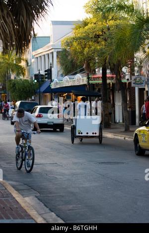 Looking north on Duval St towards Sloppy Joe's in Key West Florida - Stock Photo