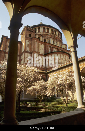 Courtyard cloisters at Santa Maria delle Grazie church in Milan Italy - Stock Photo