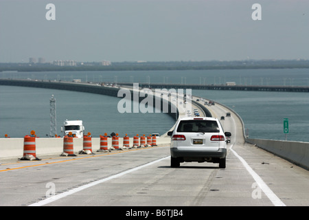 Driving west over the Sunshine Skyway in Tampa Florida - Stock Photo