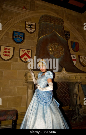 Cinderella in blue gown Cinderellas Royal Table restaurant Cinderella Castle Magic Kingdom Walt Disney World Orlando - Stock Photo