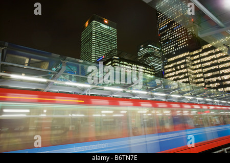 Banking and financial sector buildings at Canary Wharf in London UK from the Docklands Light Railway - Stock Photo