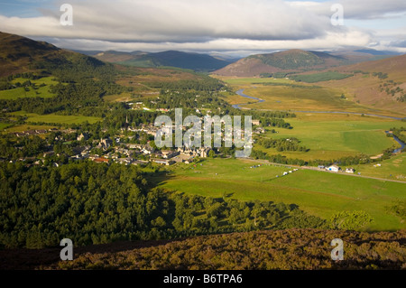 Braemar village and River Dee from Creag Choinnich - Stock Photo