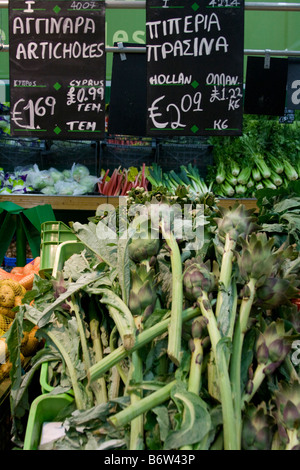 Foreign Supermarkets  Euro pricing of fruit and vegetables in Cyprus Supermarket Fresh foods produce Aisle, EU Europe. - Stock Photo