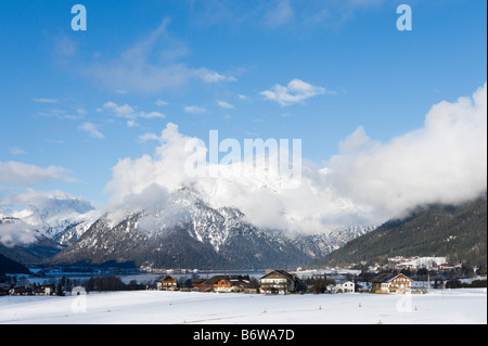 View over the village of Maurach, Lake Achensee, Tyrol, Austria - Stock Photo