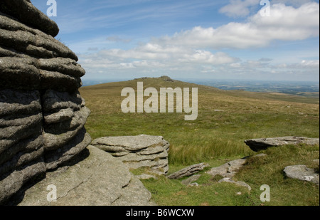 Yes Tor, the second highest peak on northwest Dartmoor, Devon, looking north from a point near High Willhays. - Stock Photo