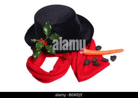Collection of things for making a snowman scarf hat carrot coal holly branch - Stock Photo