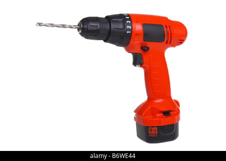 Cordless power drill tool cut out isolated on white background - Stock Photo