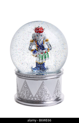 Nutcracker snowglobe cut out isolated on white background - Stock Photo