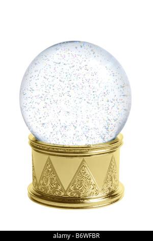 Snow globe cutout isolated on white background - Stock Photo