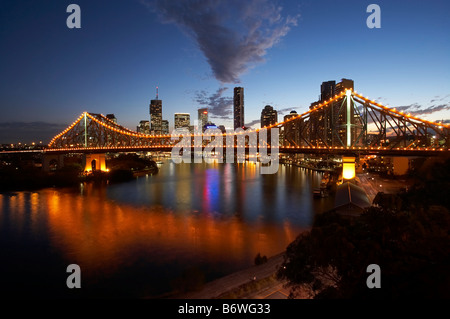 Story Bridge Brisbane River and Brisbane CBD at Dusk Queensland Australia - Stock Photo