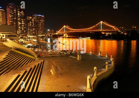 Brisbane Waterfront Brisbane River and Story Bridge at Night Brisbane Queensland Australia - Stock Photo