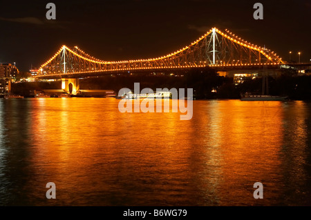 Story Bridge and Brisbane River at Night Brisbane Queensland Australia - Stock Photo