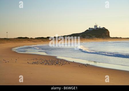 Nobbys Beach and Nobbys Head Newcastle New South Wales Australia - Stock Photo