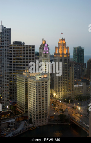 Elevated view of Wrigley Building and Tribune Tower in Chicago at dusk - Stock Photo