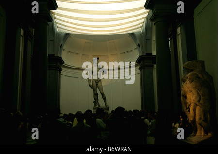 Michelangelo's David on disply in the Gallery at the Accademia di Belle Arti Firenze, Florence, Italy - Stock Photo
