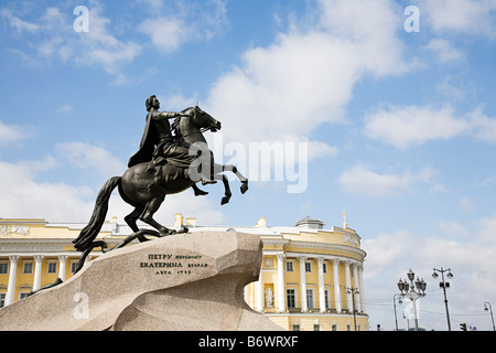 Peter the great monument in st petersburg - Stock Photo