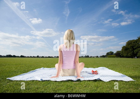 Young woman on blanket in park - Stock Photo
