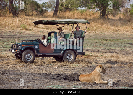 Tanzania, Katavi National Park. Tourists watch a pride of lions from a safari vehicle in the Katavi National Park. - Stock Photo
