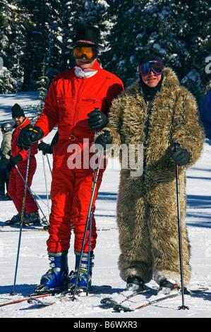 USA, Colorado, Vail Ski Resort. Skier in Vail fancy dress - Stock Photo