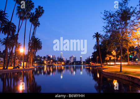 USA, California, Los Angeles. Downtown district skyscrapers behind Echo Park Lake - Stock Photo