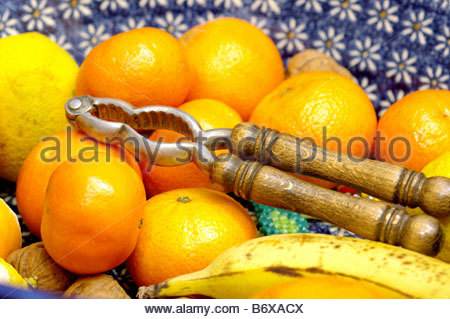 ORANGES FRUIT NUT CRACKERS - Stock Photo