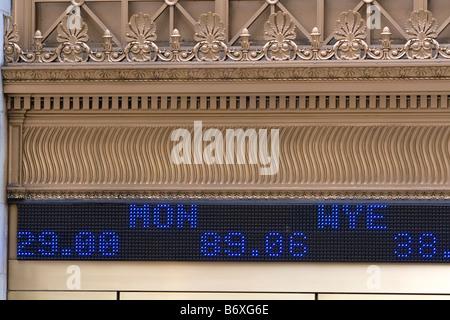 Ticker in front of the New York Stock Exchange in New York City New York USA - Stock Photo