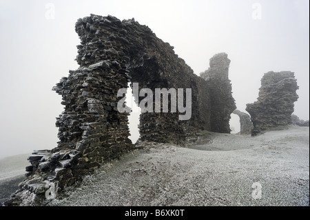 Castell Dinas Bran, on the hill above Llangollen, Wales, on cold foggy, frosty winter day - Stock Photo