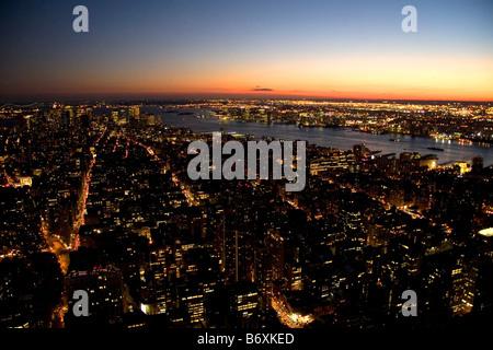 Night view of New York City New York USA - Stock Photo