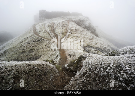 Castell Dinas Bran, on the hill above Llangollen, Wales, on cold frosty winter day - Stock Photo