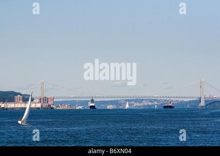 George Washington Bridge spanning the Hudson River New York City New York USA