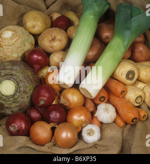 A selection of root vegetables bught in the supermarket - Stock Photo