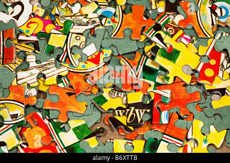 Pieces of jigsaw puzzle - Stock Photo