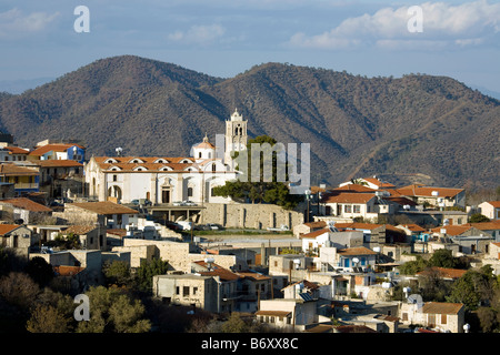 Houses and church in the village of Lefkara, White-limestone foothills of the Troodos Mountains, Cyprus - Stock Photo