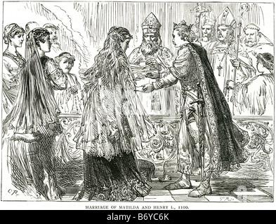 marriage of matilda and henry I 1100 Edith King Malcolm III Norman 11 November - Stock Photo