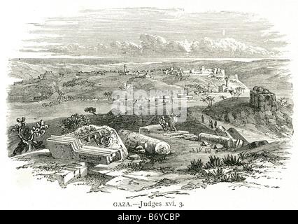 Gaza Palestinian city Strip Jerusalem Ancient Egyptian fortress Canaanite territory - Stock Photo