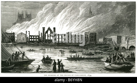 burning of the houses of parliment 1834 Westminster Hall Jewel Tower crypt of St Stephen's Chapel - Stock Photo