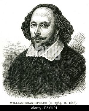 william shakespeare baptised 26 April 1564 – 23 April 1616  English poet playwright - Stock Photo