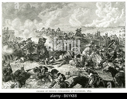 charge french cuirassiers waterloo 1815 Solider fighting battle rifle shot stab war attack death siege fight charge - Stock Photo