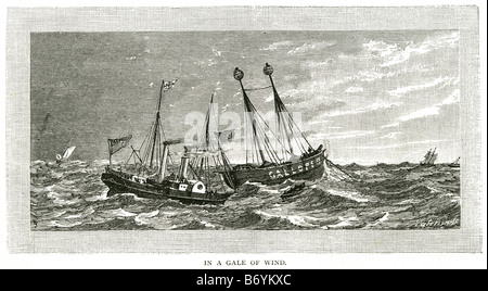gale wind steam Water trade transport sail coast sailing bay boat rowing ocean wave storm sea ship - Stock Photo