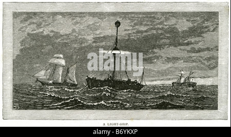 light ship Water trade transport sail coast sailing bay boat rowing ocean sea storm marine - Stock Photo
